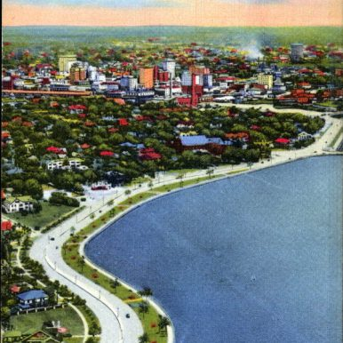 Bayshore Boulevard from the Air and City Skyline - Tampa, Florida . 19--. Color postcard, 6 x 4 in. State Archives of Florida, Florida Memory. , accessed 21 March 2018.