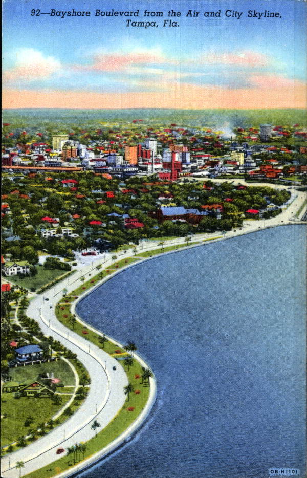 Bayshore Boulevard from the Air and City Skyline - Tampa, Florida . 19--. Color postcard, 6 x 4 in. State Archives of Florida, Florida Memory. <https://www.floridamemory.com/items/show/163570>, accessed 21 March 2018.