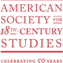 "Logo of meeting: Red text on white background reading ""American Society for 18th Centruy Studies celebrating 50 years"