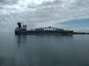 a boat heading into Hamilton