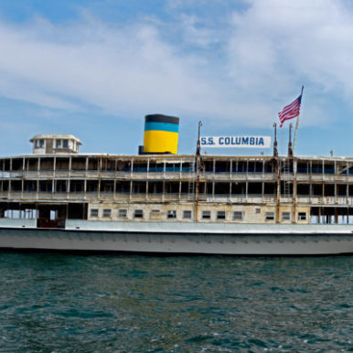 SS Columbia, floating on lake