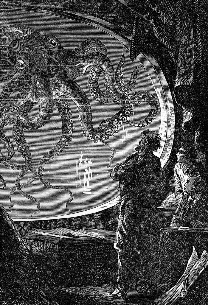 Illustration of Captain Nemo aboard the Nautilus, from Twenty Thousand Leagues Under the Sea by Jules Verne