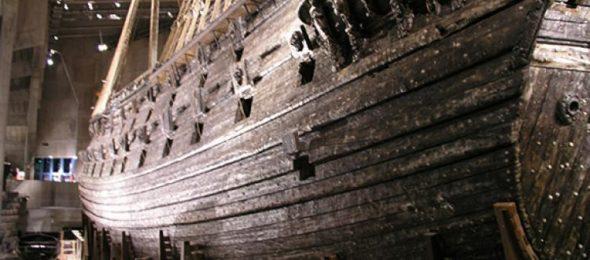 Hull of wooden sailing ship, the Vasa
