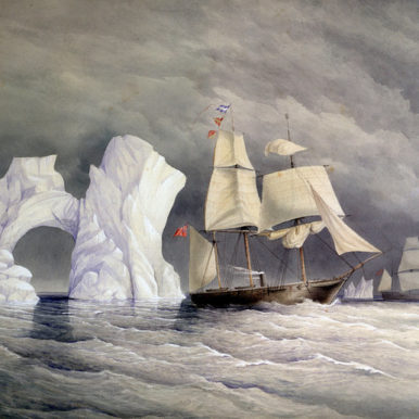 Painting of icebergs and ships by Edward Augustus Inglefield