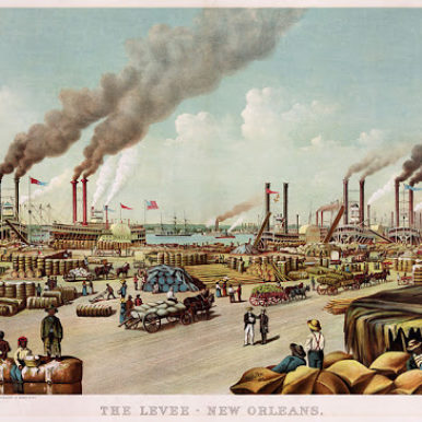 19th century image of the port of New Orleans