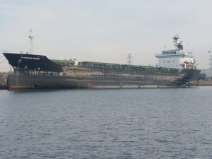A ship tied to the wall
