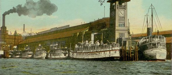 Steamboat at Colman Dock, Seattle, circa 1912