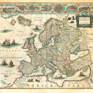 Map of Europe from 17th century Blaeu Atlas