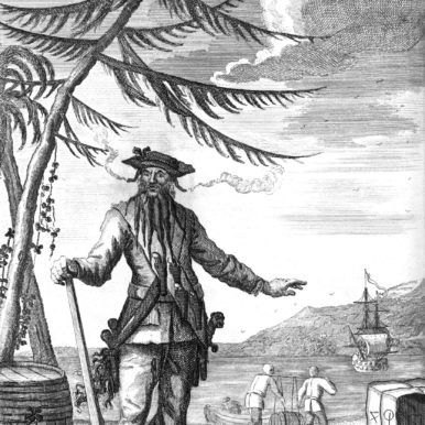 Engraving of the pirate Edward Teach (Blackbeard)