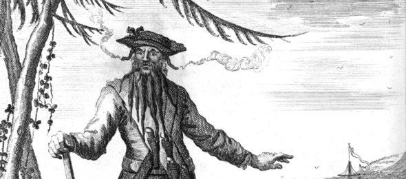 Engraving of the pirate Edward Teach (Blackbeard)