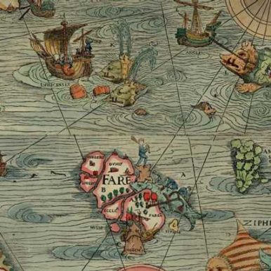 Early modern ocean map with sea monsters