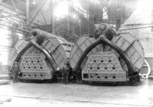 An end-on view of two ship's boilers