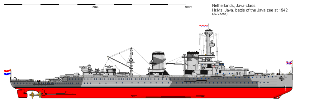 a side view of the cruiser HrMS Java