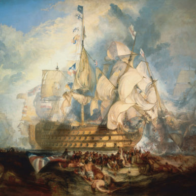 Painting of the Battle of Trafalgar, painted by J M W Turner