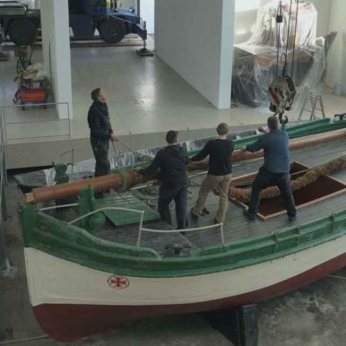 Museum staff working on a ship in the German Maritime Museum, Bremerhaven