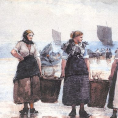 Painting of Fisherwomen on shore, 1881, by Winslow Homer