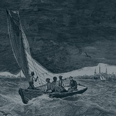 Nineteenth century engraving of boat in a storm